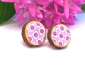 PURPLE PATTERN Earrings, Fabric & Wood, Cute Round Floral Print Post Earrings, Wooden Circles