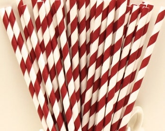 Paper Straws, 25 Burgundy Maroon Paper Straws, Party Drink Straws, College Sports, Sorority Party Straws, Drinks, Catering Drinking Straws