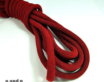 Deep red  braided silk cord, 8mm bookbinding rope, thick cord, 1m