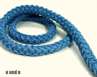 Braided cotton cord, 12mm thick rope, blue (1m)