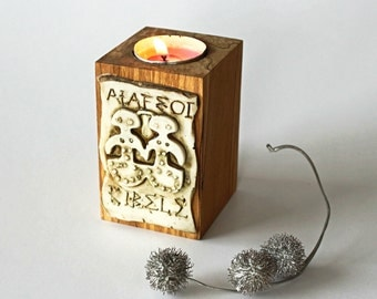 Wooden Rustic Tealight Candle Holder, Christmas House Gift, Antic Cybele Goddess Look Handmade Relief Decoration.