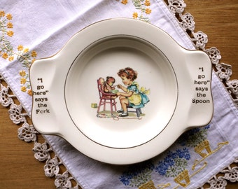 My Own Plate Childs Plate Teddy Bear Homer Laughlin China Collectible Dish