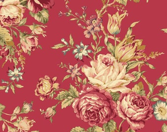 Mary Rose Quilt Gate Fabric Collection AMELIA 11E Beautiful Floral Flower Rose Bouquet on Raspberry Pink