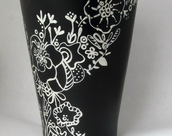 Black and White Flower Pot-Handpainted floral design/Planter/Spring Flowers