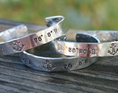 Latitude and Longitude, hand stamped, personalized, cuff bracelet,anchor