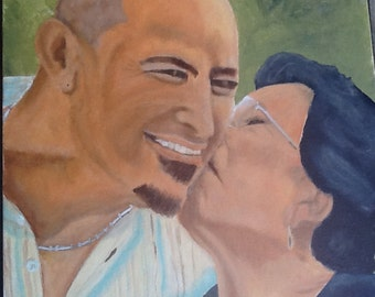 """Juan and his Mama, portrait from photo, 16""""x24"""""""