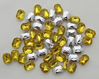 """Yellow Rectangular Acrylic Gems .23"""" x .31"""" 6mm x 8mm non-sew glue in faceted back - 50 total"""