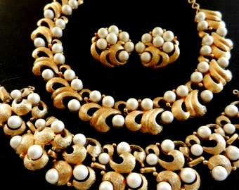 1950 Opulent Vintage pearl Necklace, Bracelet and Earrings set -CHAREL 1950 original by large sumptuous design  -art.271/3-