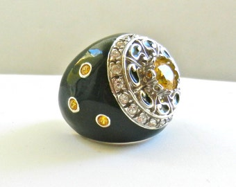 Showy large solid Ring 925 silver - enamel & crystals, unique piece Italian Couture -great quality --Art.391/3 -