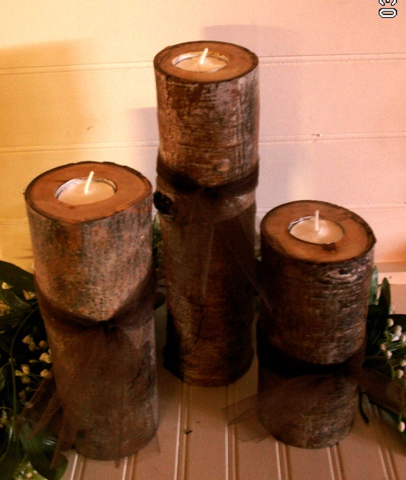 Handmade tree branch tea light candle holders by