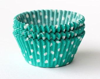 Green Polka Dot Cupcake Liners, Green Cupcake Liners, Polka Dot Baking Cups, St Patrick's Day Liners (50)
