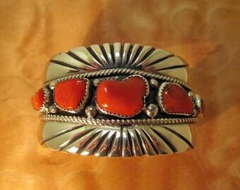 Al Joe Bracelet Navajo Silver Coral