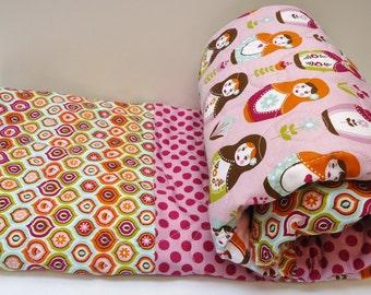 Baby Girl Quilt-Russian Matryoshka Nesting Dolls-Modern Patchwork Baby Bedding- Crib Blanket-Lilac Cot Bunting