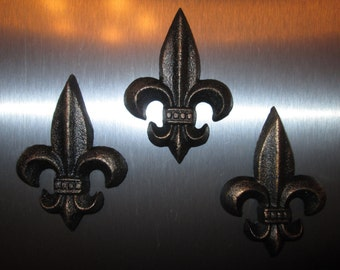 Set of 3 Cast Iron Fleur de Lis Magnets - FREE USA SHIPPING - Old World Tuscan French Country Rustic Elegant Medieval Kitchen Decor