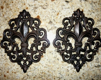 Set of 2 Iron Fleur de Lis Wall Plaques - FREE USA SHIPPING - Hand Painted - Old World, Medieval, New Orleans Decor