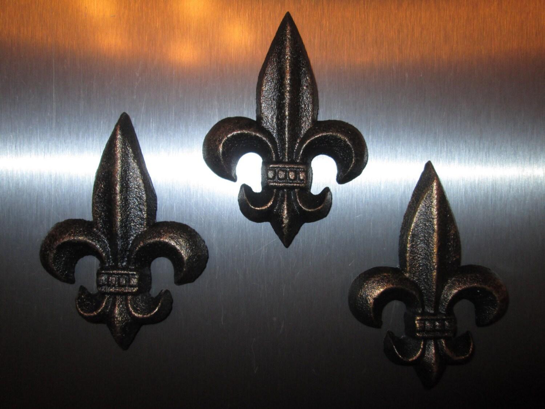 Set Of 3 Cast Iron Fleur De Lis Magnets Free Usa Shipping