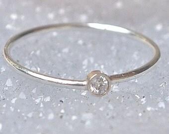 Ring 18k Gold Diamond Stacking Ring April Birthstone Diamond 18k White Gold Ring
