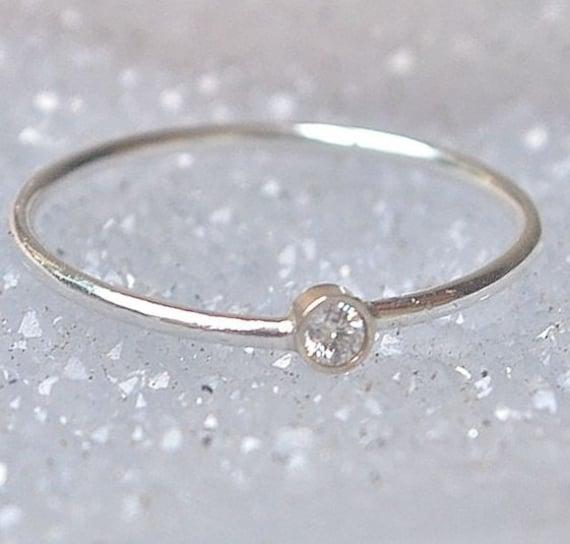 ring 18k gold stacking ring april birthstone
