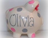 Hand painted personalized polka dot ceramic piggy banks medium size GIRL HEART FONT