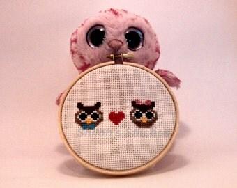 Chibi Owls in Love Pattern