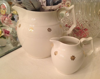 Creamy White Pitchers With Gold Accents ~ Vintage White Pottery ~ Cottage, Shabby Chic Decor ~ Farmhouse Chic ~ Gift for Her ~ Collectibles