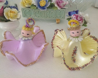Vintage Easter Angels ~ Angels From Egg Cartons ~ Glitter Yellow Lavender ~ Easter Decorations