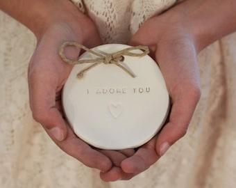 I adore you Ring bearer pillow alternative, Wedding ring dish Alternative wedding Ring pillow Ring dish