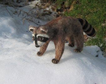 OOAK Raccoon Needle Felted Soft Sculpture Handmade