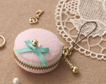 Macaron Mini Pouch Strap Pink - Japanese Felt  DIY Kit - Girly, Adorable, Kawaii Sweets Coin Purse, Accessory Case, Bag Charm - F99