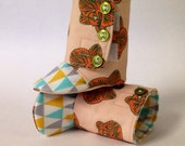 3-6 months Orange Orchids on Pale Apricot Baby Boots - READY TO SHIP