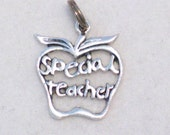 filigree Apple Special Teacher school or parent theme sterling silver bracelet charm or pendant