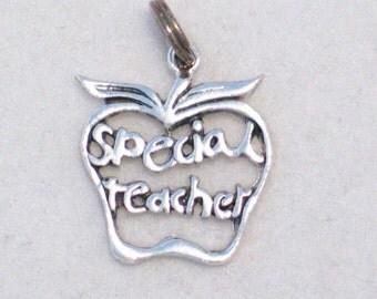 sterling silver charm pendant Apple Special Teacher school or parent theme 4 bracelet or necklace gift