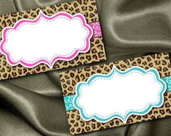 10 Flat Style Place Cards, Name Cards, Buffet Food Cards, Baby or Bridal Shower, Bachelorette Party, Birthday, Pink, Blue, Cheetah Print