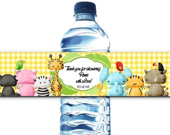 10 Waterproof Peel & Stick Water Bottle Labels, Baby Shower, 1st Birthday, Christening or Baptism Party, Baby Jungle Safari Animals