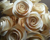 """Creme Brulee Collection 2"""" Paper Roses with 12"""" stems for crafts, altered art, bouquets, center pieces, and weddings PAPER FLOWERS"""