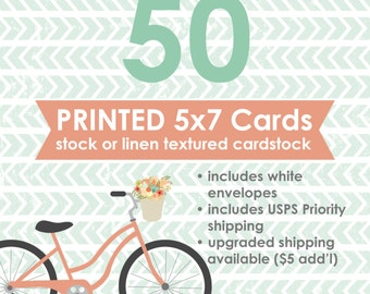 50 Professionally Printed 5x7 Flat Cards with White Envelopes