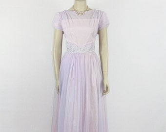 SALE.....Vintage 1960's Long Dress - Lavender Chiffon Flowing Illusion Bust Ruched Sleeves Formal Gown - 42 / 31 / full