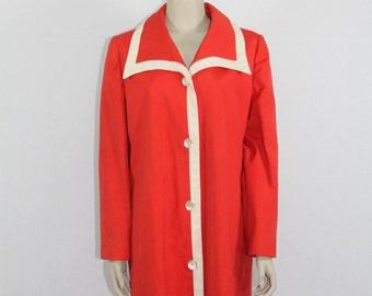 SALE.....1960's Red Vintage Rain Coat - Women's Red Jazzy Long Coat - 42 Bust
