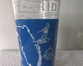 Vintage Souvenir Glass Tumbler Florida Sunshine State Clear with Blue and White Continental Can Company Vacation Travel Retro