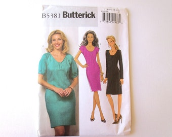 Sewing Pattern, Misses Dress Pattern with Raglan Sleeves, for Moderate Stretch Knits, Large Size Pattern, Butterick 5381