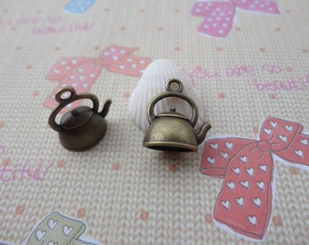 20pcs 15x17x10mm Pot/kettle/tea pot Antique Bronze Retro Pendant Charm For Jewelry Pendant