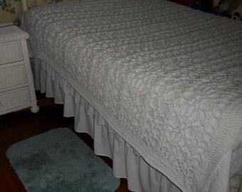 Crocheted Afghan -  Blanket - Coverlet -  Bedspread - Throw  XLarge  ''BOUDOIR''  in White