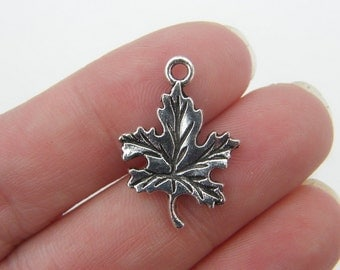 10 Leaf charms antique silver tone L12