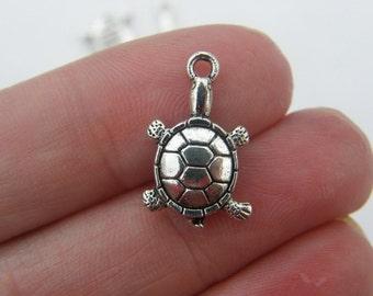 8 Turtle charms tibetan silver FF139