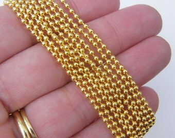 8m Ball chain 2mm gold plated