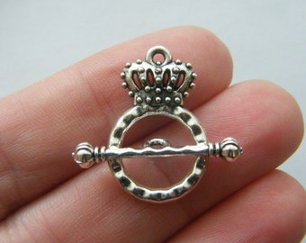 6 Crown toggle clasps antique silver tone FS79