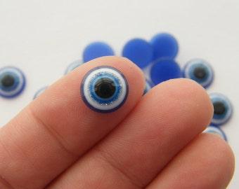 BULK 300 Blue evil eye resin embellishment