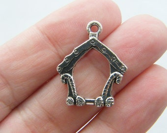 8 Gingerbread house charms antique silver tone CT86