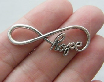 4 Hope Infinity charms or connectors antique silver tone I9