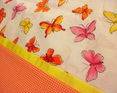 Handmade Cotton Pillowcases - Butterflies and Orange Gingham Check Pillow Cases - Bridal Shower Gift - Set of 2